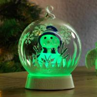 Boule en verre bonhomme de neige Konstsmide 3408-000 transparent