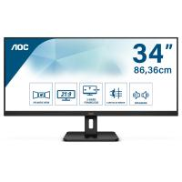 "AOC Q34E2A Moniteur 34"""" UWide QHD (2560 x 1080, 75 Hz, Flicker Free, Low Blue Light, Haut-parleurs, VESA, HDMI, Displayport)"