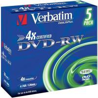 Comparer les prix du DVD vierge Verbatim DVD-RW 4.7GB 5PK P5 Jewel case x4