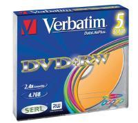 Comparateur de prix Verbatim DVD+RW 4x couleur, 5 pièces en slimcase (43297)