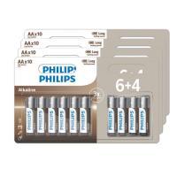 comparateur de prix Lot de 40 piles alcalines Philips AA 4 pack de 6+4