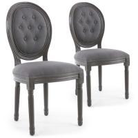 Comparateur de prix Lot de 2 chaises de style médaillon louis xvi bois gris & tissu capitonné gris