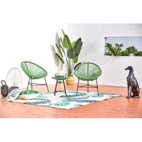 Acapulco : Ensemble 2 fauteuils oeuf + table basse vert - Vert  en solde
