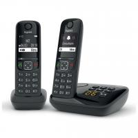Comparateur de prix Gigaset AS690A Duo - Téléphone sans fil - système de répondeur avec ID d'appelant - ECO DECTGAP - noir + combiné supplémentaire