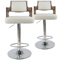 """Lot de 2 Chaises de Bar """"Paddington"""" 110cm Noisette & Blanc"""