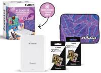 Imprimante photo portable Canon Kit Zoemini Blanche+50 feuilles+Housse  en solde