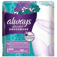 Comparateur de prix ALWAYS DISCREET Culottes pour fuites urinaires Femme - Taille M - Incontinence modérée - Lot de 12