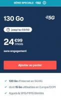 Comparateur de prix Forfait B&You 4G + 5G 130 Go + Appels SMS MMS illimités. Dont 20 Go Europe. Sans engagement.