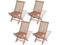 Comparateur de prix vidaXL Teck Massif 4X Chaise Pliante d'Extérieur Ensemble Chaise de Jardin