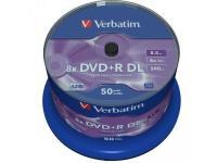 Comparer les prix du Verbatim DVD+R Double Layer 8x Matt Silver 50pk Spindle