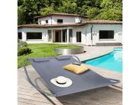 Comparateur de prix Lit bain de soleil 180cm toile grise