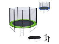 Trampoline Happy Garden Pack premium trampoline 245cm réversible vert / bleu canberra + filet, échelle, bâche et kit d'ancrage
