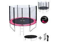 Trampoline Happy Garden Pack premium trampoline 305cm réversible rose / gris adelaïde + filet de protection, échelle, bâche et kit d'ancrage