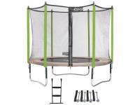 Comparateur de prix Trampoline de jardin 305 cm + filet de sécurité + échelle + kit d'ancrage jumpi taupe/vert 300 Q0010