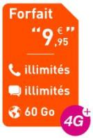 Comparateur de prix Forfait 9,95: Appels + SMS MMS illimités + Internet 60 Go