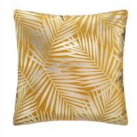 Atmosphera - Coussin déhoussable velours Ocre et Or Tropic 40 x 40 cm